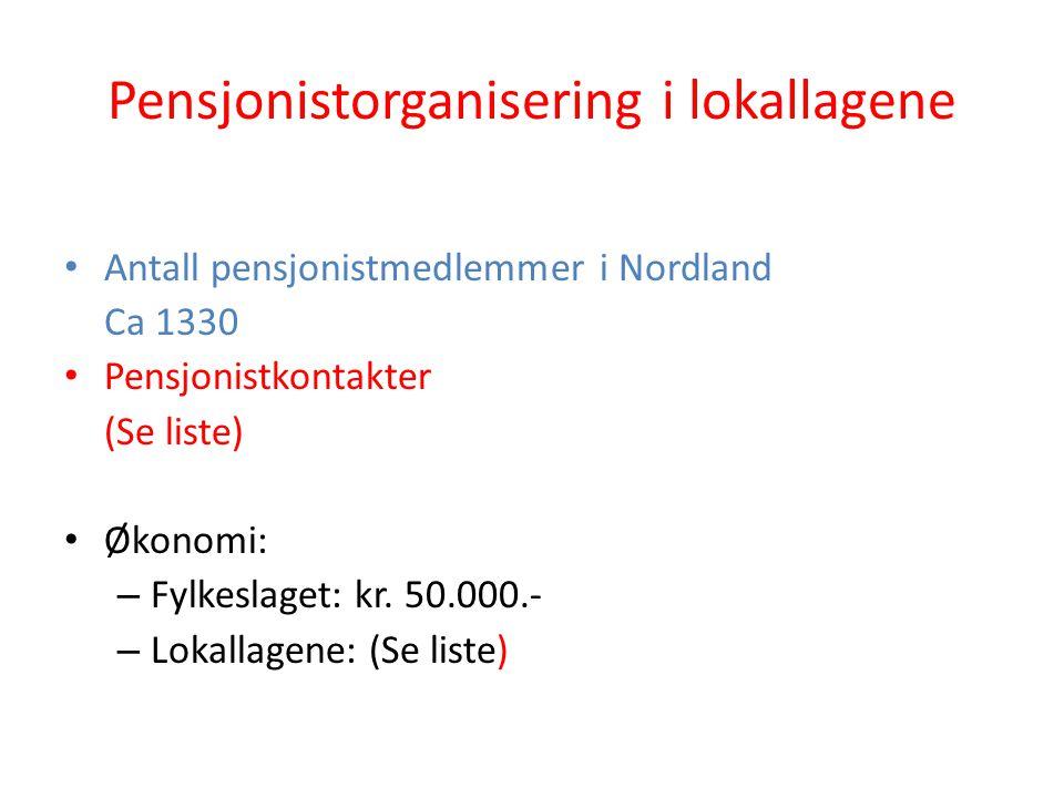Pensjonistorganisering i lokallagene Antall pensjonistmedlemmer i Nordland Ca 1330 Pensjonistkontakter (Se liste) Økonomi: – Fylkeslaget: kr. 50.000.-