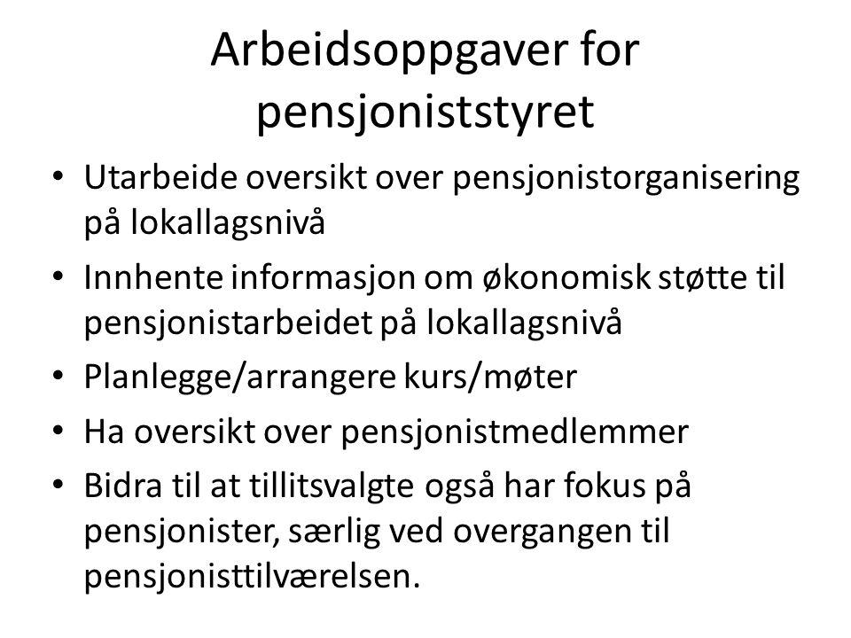 Arbeidsoppgaver for pensjoniststyret Utarbeide oversikt over pensjonistorganisering på lokallagsnivå Innhente informasjon om økonomisk støtte til pens