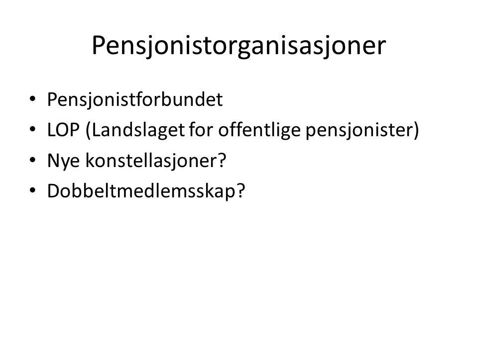 Pensjonistorganisasjoner Pensjonistforbundet LOP (Landslaget for offentlige pensjonister) Nye konstellasjoner? Dobbeltmedlemsskap?