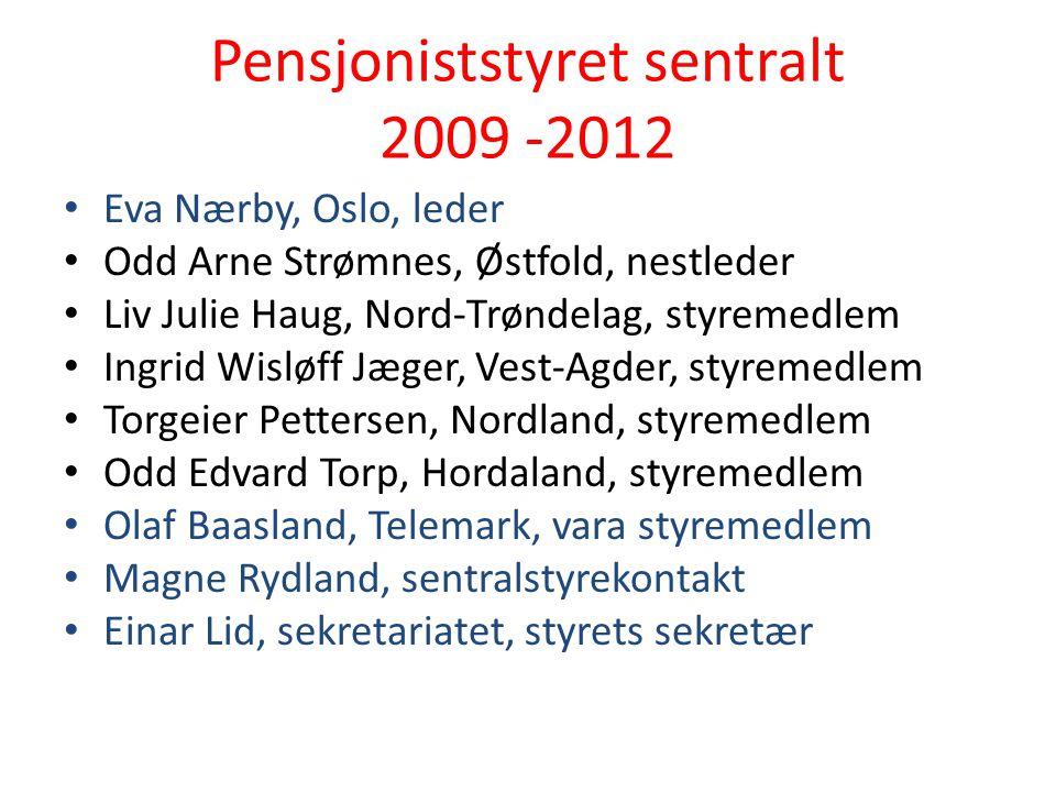 Pensjoniststyret sentralt 2009 -2012 Eva Nærby, Oslo, leder Odd Arne Strømnes, Østfold, nestleder Liv Julie Haug, Nord-Trøndelag, styremedlem Ingrid W