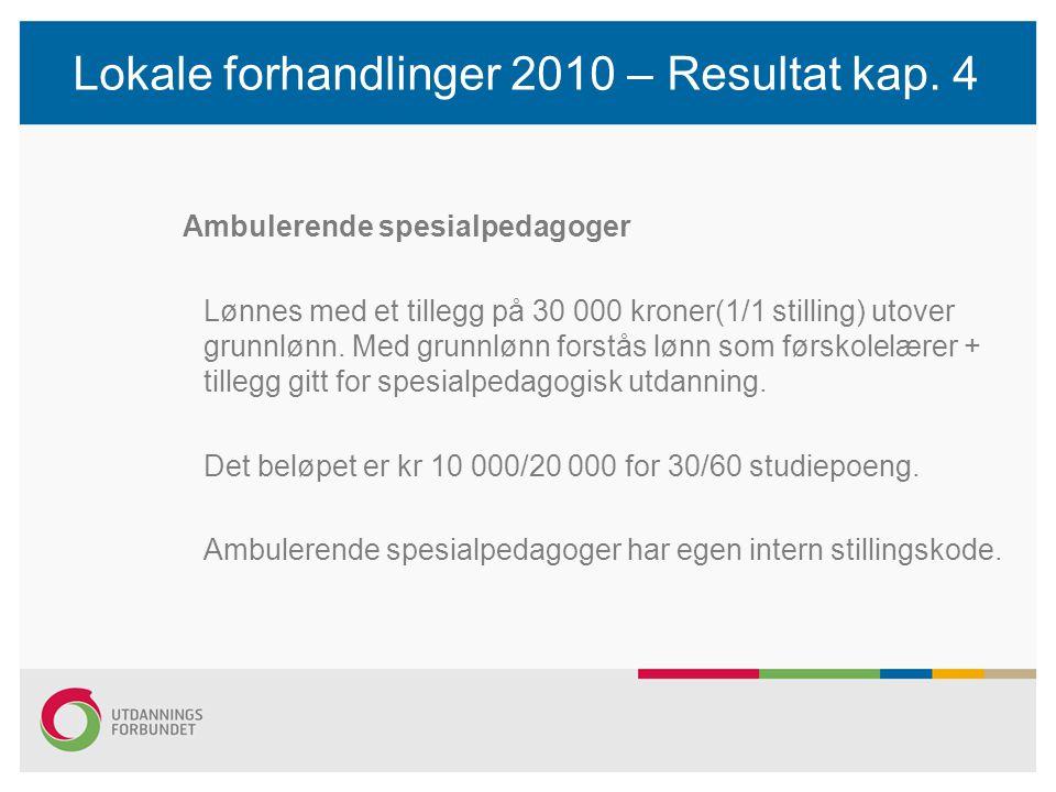 Lokale forhandlinger 2010 – Resultat kap.