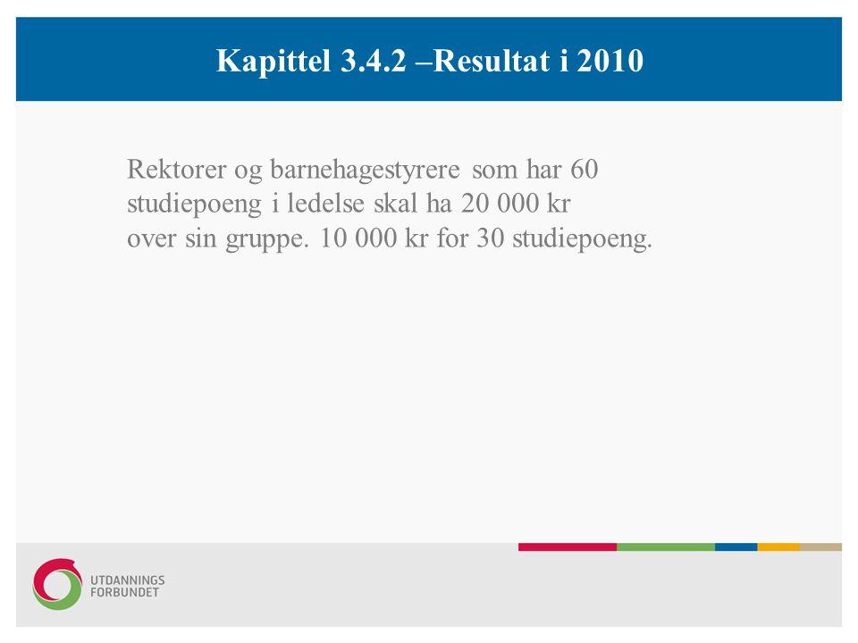 Kapittel 3.4.2 –Resultat i 2010 Rektorer og barnehagestyrere som har 60 studiepoeng i ledelse skal ha 20 000 kr over sin gruppe.