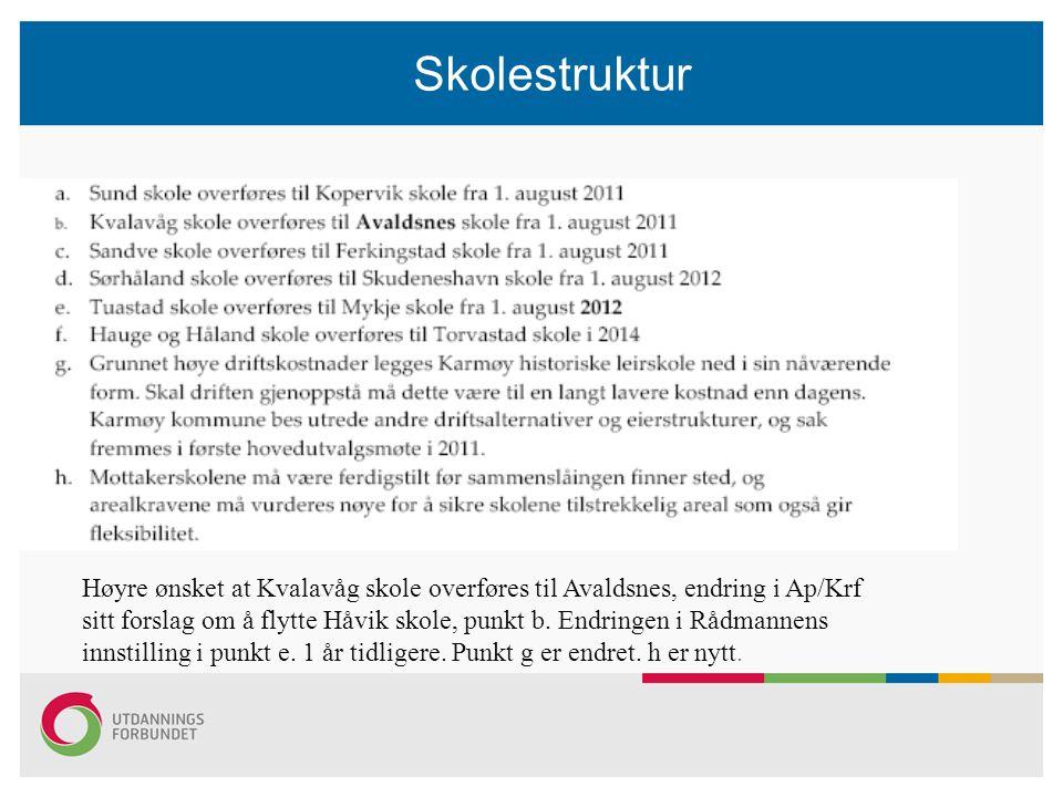 Høyre ønsket at Kvalavåg skole overføres til Avaldsnes, endring i Ap/Krf sitt forslag om å flytte Håvik skole, punkt b.