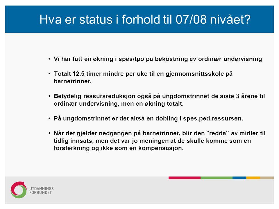 Hva er status i forhold til 07/08 nivået.