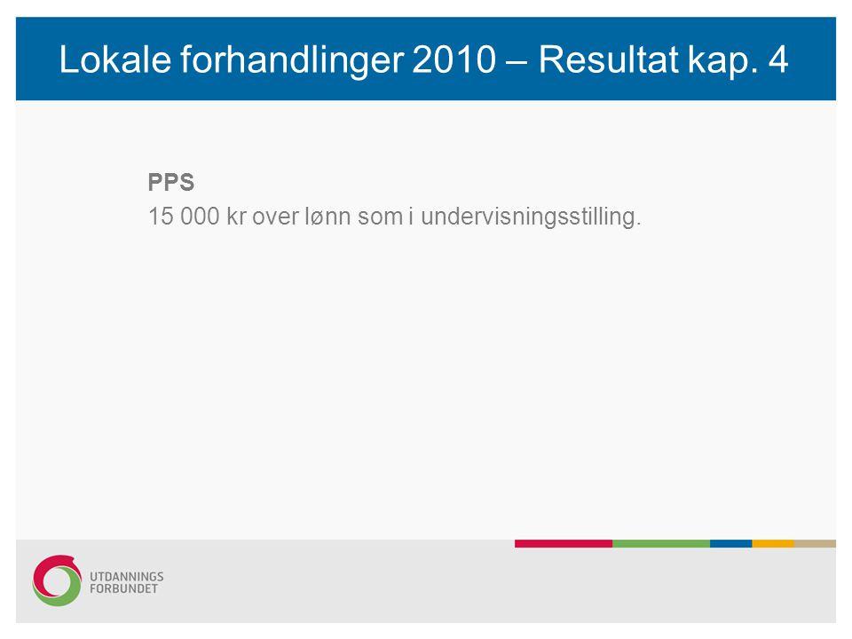 Lokale forhandlinger 2010 – Resultat kap. 4 PPS 15 000 kr over lønn som i undervisningsstilling.