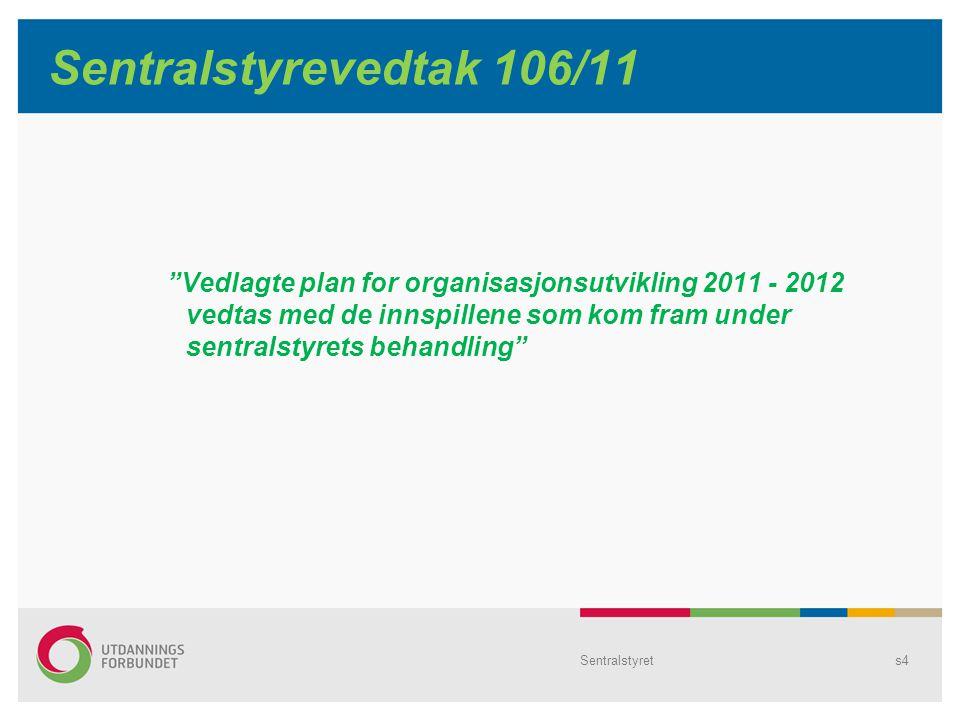 Sentralstyrets4 Sentralstyrevedtak 106/11 Vedlagte plan for organisasjonsutvikling 2011 - 2012 vedtas med de innspillene som kom fram under sentralstyrets behandling