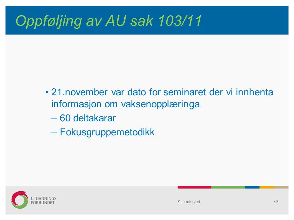 Sentralstyrets8 Oppføljing av AU sak 103/11 21.november var dato for seminaret der vi innhenta informasjon om vaksenopplæringa – 60 deltakarar – Fokusgruppemetodikk