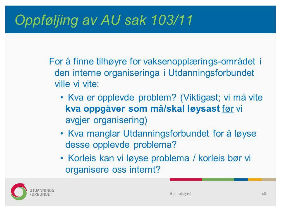 Sentralstyrets9 Oppføljing av AU sak 103/11 For å finne tilhøyre for vaksenopplærings-området i den interne organiseringa i Utdanningsforbundet ville vi vite: Kva er opplevde problem.