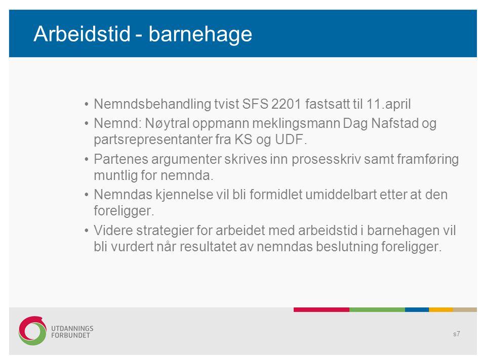 Arbeidstid - barnehage Nemndsbehandling tvist SFS 2201 fastsatt til 11.april Nemnd: Nøytral oppmann meklingsmann Dag Nafstad og partsrepresentanter fra KS og UDF.