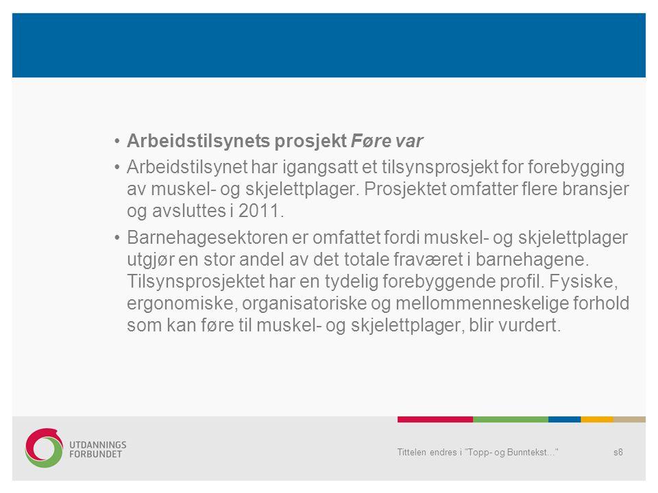 Arbeidsmiljø Føre var Bedriftshelsetjeneste Best sammen – øke nærværet i barnehagen Tittelen endres i Topp- og Bunntekst... s9