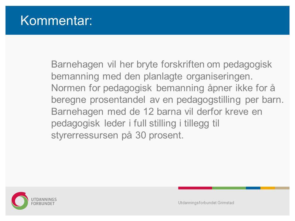 Kommentar: Barnehagen vil her bryte forskriften om pedagogisk bemanning med den planlagte organiseringen. Normen for pedagogisk bemanning åpner ikke f