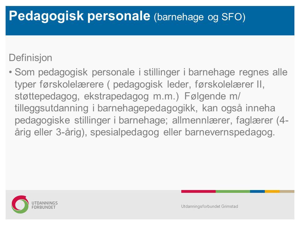 Pedagogisk personale (barnehage og SFO) Definisjon Som pedagogisk personale i stillinger i barnehage regnes alle typer førskolelærere ( pedagogisk led