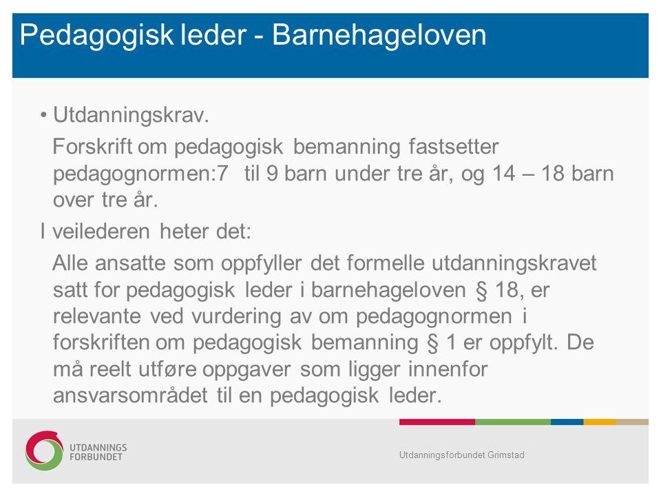 Pedagogisk leder - Barnehageloven Utdanningskrav. Forskrift om pedagogisk bemanning fastsetter pedagognormen:7 til 9 barn under tre år, og 14 – 18 bar