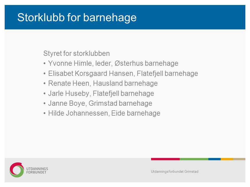 Storklubb for barnehage Styret for storklubben Yvonne Himle, leder, Østerhus barnehage Elisabet Korsgaard Hansen, Flatefjell barnehage Renate Heen, Ha