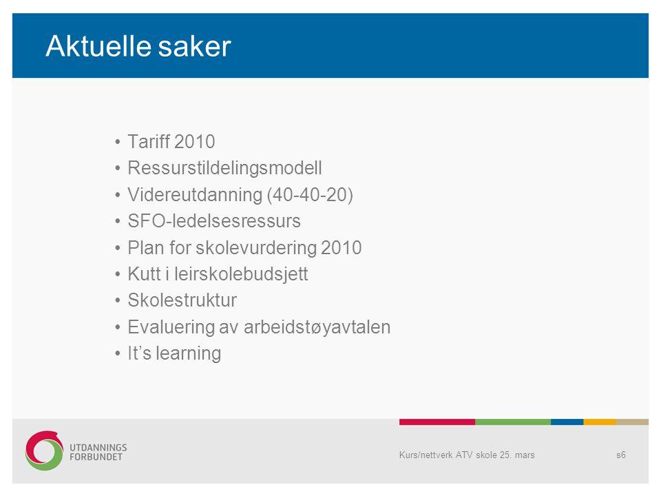 Aktuelle saker Tariff 2010 Ressurstildelingsmodell Videreutdanning (40-40-20) SFO-ledelsesressurs Plan for skolevurdering 2010 Kutt i leirskolebudsjet