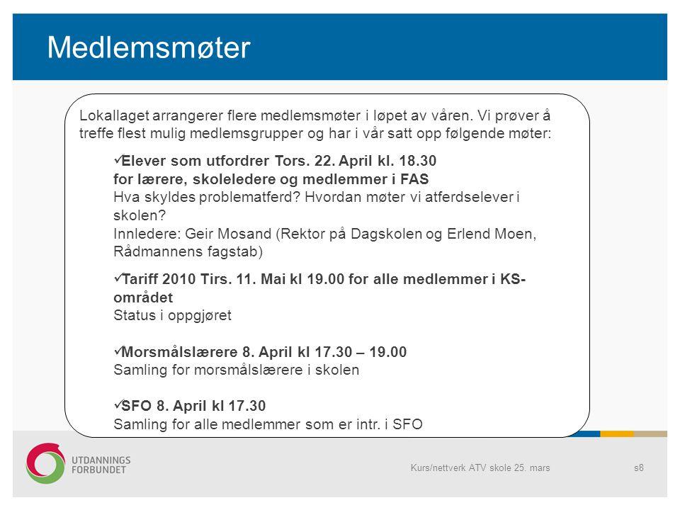 Medlemsmøter Kurs/nettverk ATV skole 25.