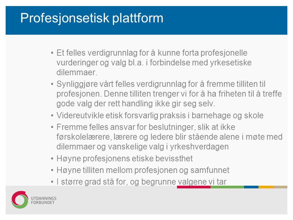 Profesjonsetisk plattform Et felles verdigrunnlag for å kunne forta profesjonelle vurderinger og valg bl.a.