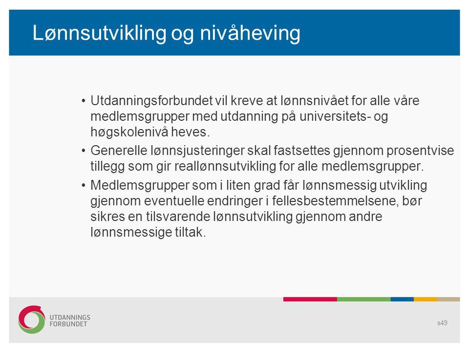 Lønnsutvikling og nivåheving Utdanningsforbundet vil kreve at lønnsnivået for alle våre medlemsgrupper med utdanning på universitets- og høgskolenivå heves.