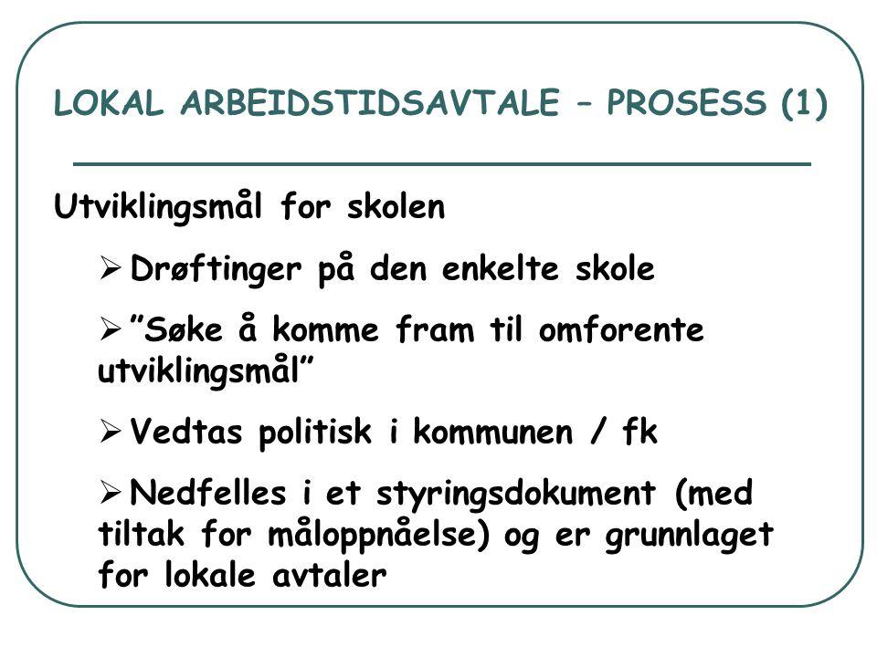 """LOKAL ARBEIDSTIDSAVTALE – PROSESS (1) Utviklingsmål for skolen  Drøftinger på den enkelte skole  """"Søke å komme fram til omforente utviklingsmål""""  V"""