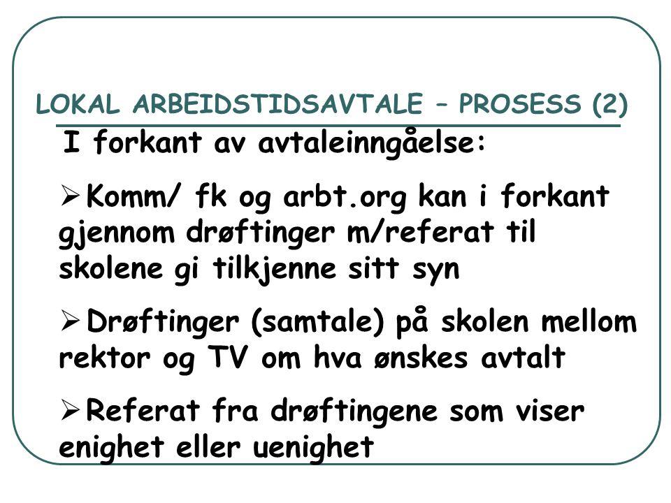 LOKAL ARBEIDSTIDSAVTALE – PROSESS (2) I forkant av avtaleinngåelse:  Komm/ fk og arbt.org kan i forkant gjennom drøftinger m/referat til skolene gi t