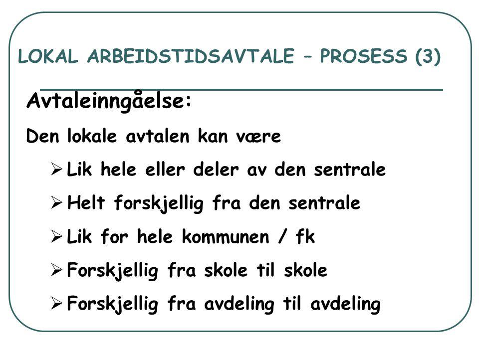 LOKAL ARBEIDSTIDSAVTALE – PROSESS (3) Avtaleinngåelse: Den lokale avtalen kan være  Lik hele eller deler av den sentrale  Helt forskjellig fra den s