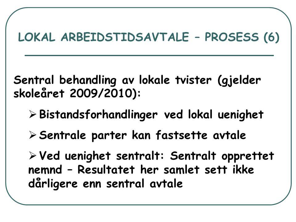 LOKAL ARBEIDSTIDSAVTALE – PROSESS (6) Sentral behandling av lokale tvister (gjelder skoleåret 2009/2010):  Bistandsforhandlinger ved lokal uenighet 