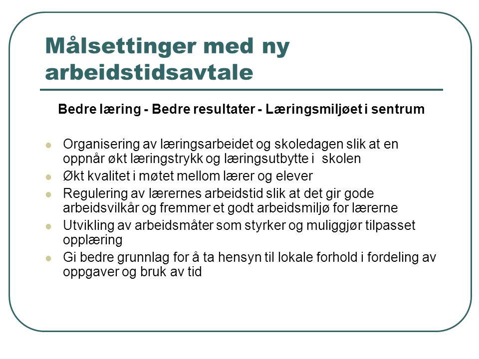 Målsettinger med ny arbeidstidsavtale Bedre læring - Bedre resultater - Læringsmiljøet i sentrum Organisering av læringsarbeidet og skoledagen slik at