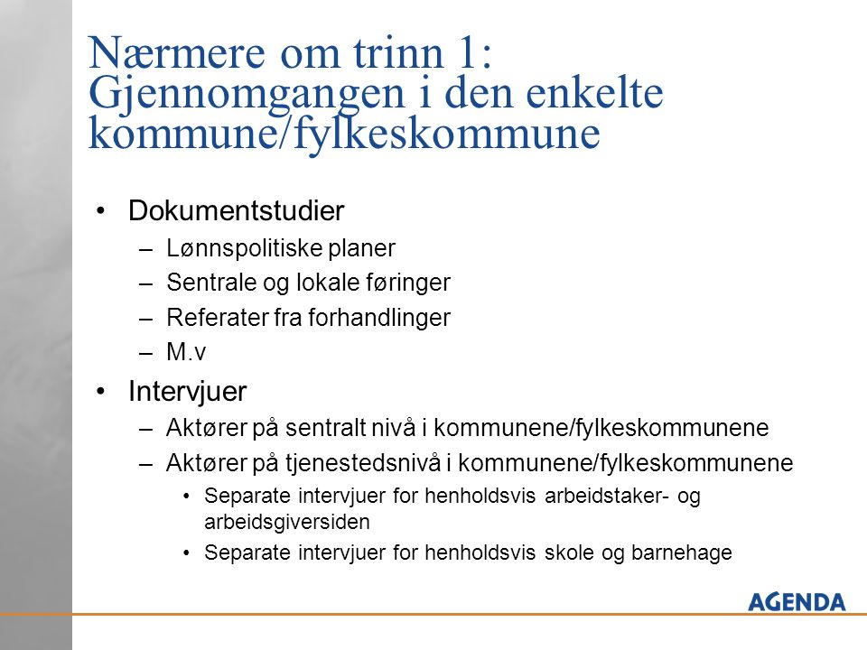 Nærmere om trinn 1: Gjennomgangen i den enkelte kommune/fylkeskommune Dokumentstudier –Lønnspolitiske planer –Sentrale og lokale føringer –Referater f