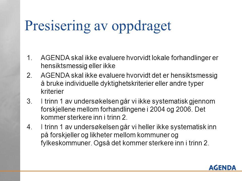 Presisering av oppdraget 1.AGENDA skal ikke evaluere hvorvidt lokale forhandlinger er hensiktsmessig eller ikke 2.AGENDA skal ikke evaluere hvorvidt det er hensiktsmessig å bruke individuelle dyktighetskriterier eller andre typer kriterier 3.I trinn 1 av undersøkelsen går vi ikke systematisk gjennom forskjellene mellom forhandlingene i 2004 og 2006.