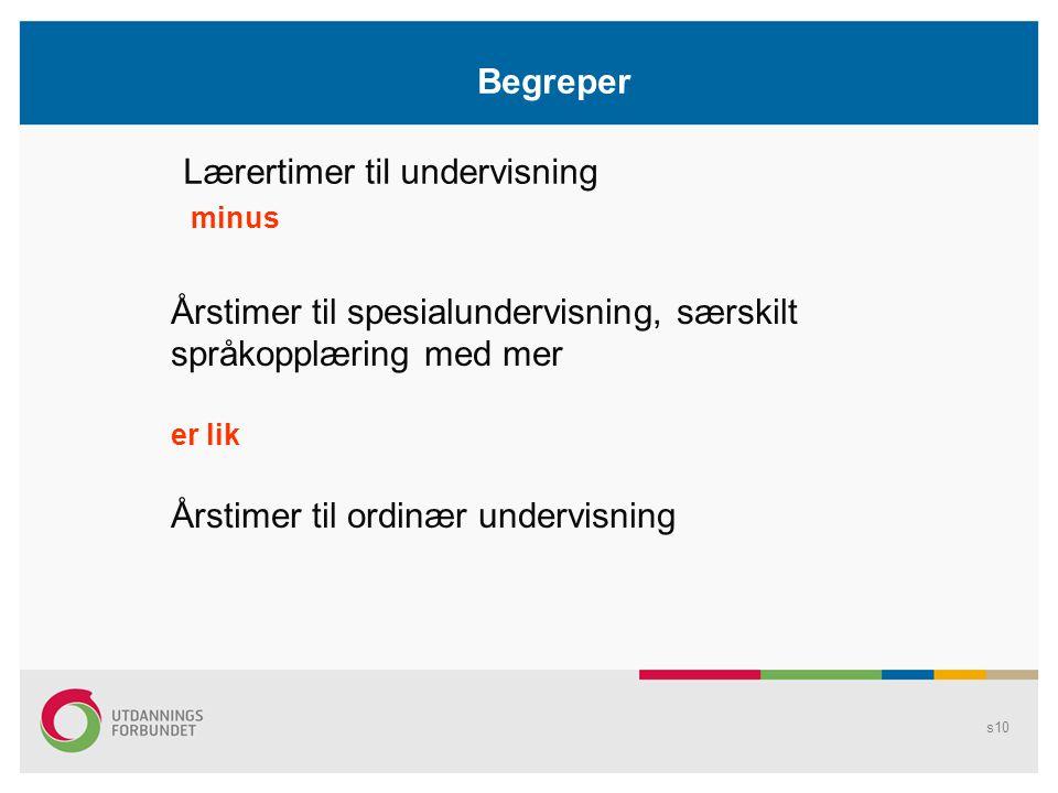 Begreper Lærertimer til undervisning minus Årstimer til spesialundervisning, særskilt språkopplæring med mer er lik Årstimer til ordinær undervisning