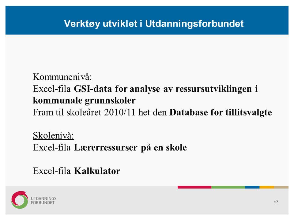 Verktøy utviklet i Utdanningsforbundet Kommunenivå: Excel-fila GSI-data for analyse av ressursutviklingen i kommunale grunnskoler Fram til skoleåret 2