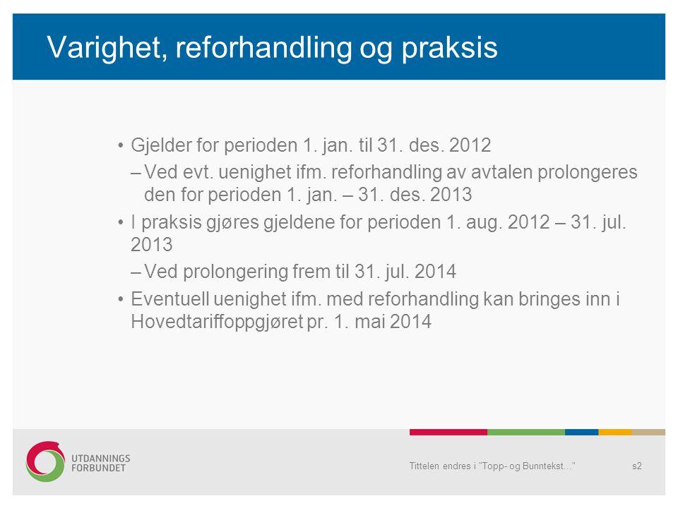 Tittelen endres i Topp- og Bunntekst... s2 Varighet, reforhandling og praksis Gjelder for perioden 1.