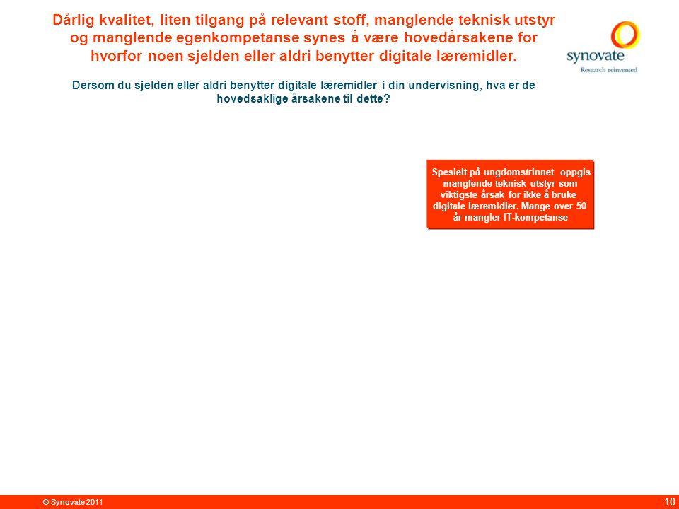 © Synovate 2011 10 Dårlig kvalitet, liten tilgang på relevant stoff, manglende teknisk utstyr og manglende egenkompetanse synes å være hovedårsakene for hvorfor noen sjelden eller aldri benytter digitale læremidler.