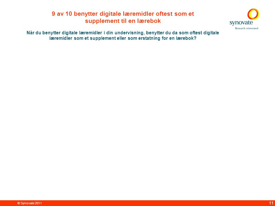 © Synovate 2011 11 9 av 10 benytter digitale læremidler oftest som et supplement til en lærebok Når du benytter digitale læremidler i din undervisning, benytter du da som oftest digitale læremidler som et supplement eller som erstatning for en lærebok