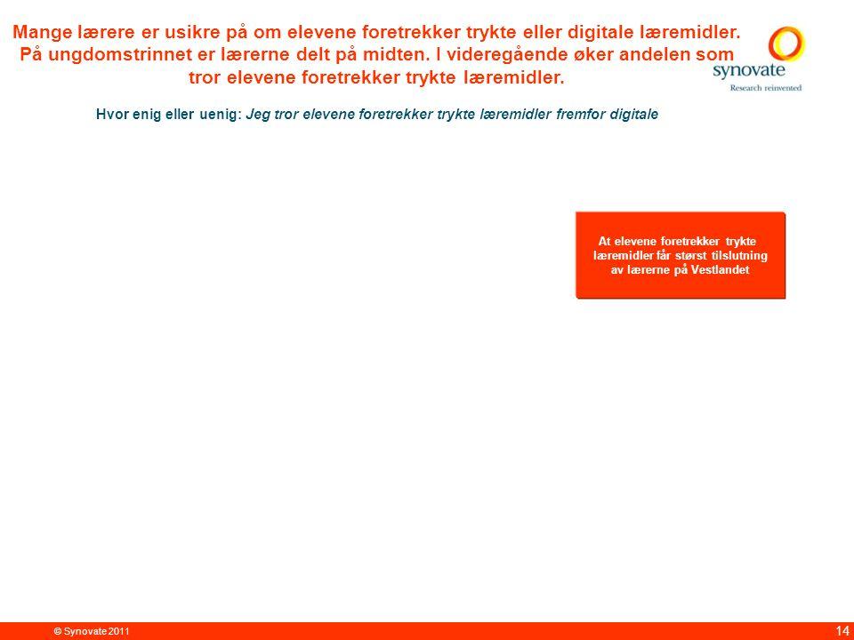 © Synovate 2011 14 Mange lærere er usikre på om elevene foretrekker trykte eller digitale læremidler.