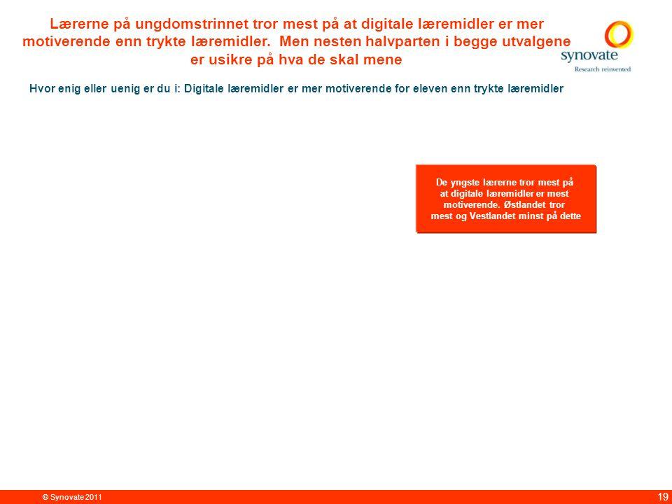 © Synovate 2011 19 Lærerne på ungdomstrinnet tror mest på at digitale læremidler er mer motiverende enn trykte læremidler.