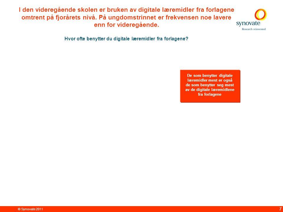© Synovate 2011 7 I den videregående skolen er bruken av digitale læremidler fra forlagene omtrent på fjorårets nivå.