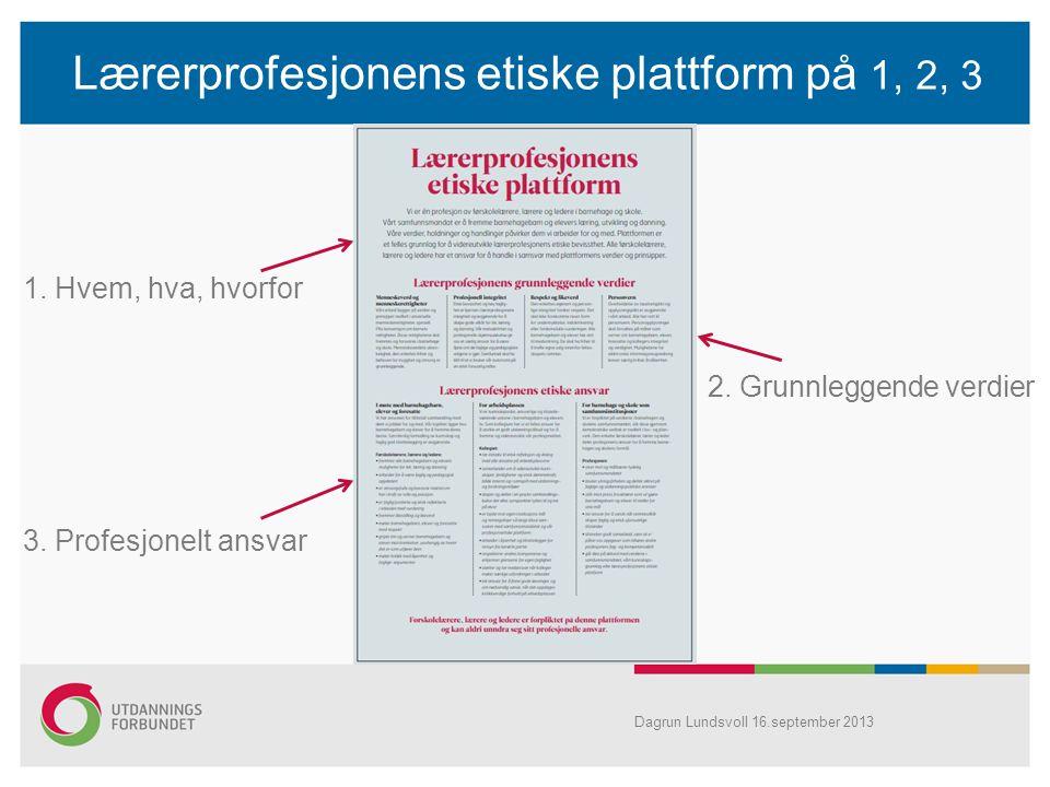 Lærerprofesjonens etiske plattform på 1, 2, 3 1. Hvem, hva, hvorfor 2. Grunnleggende verdier 3. Profesjonelt ansvar Dagrun Lundsvoll 16.september 2013