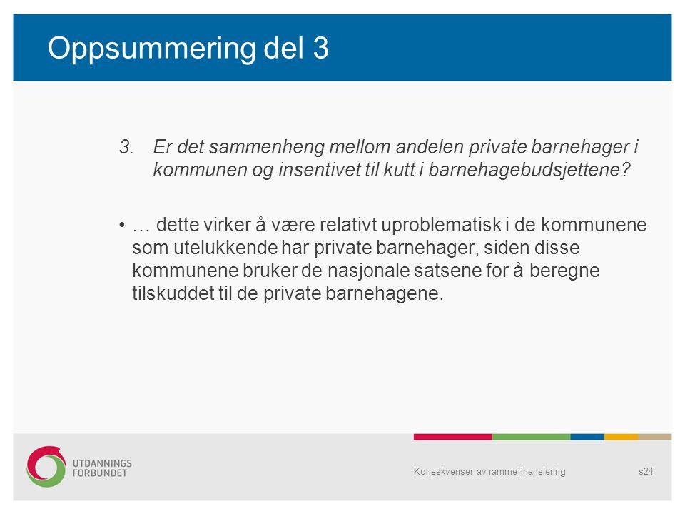 Oppsummering del 3 3.Er det sammenheng mellom andelen private barnehager i kommunen og insentivet til kutt i barnehagebudsjettene? … dette virker å væ
