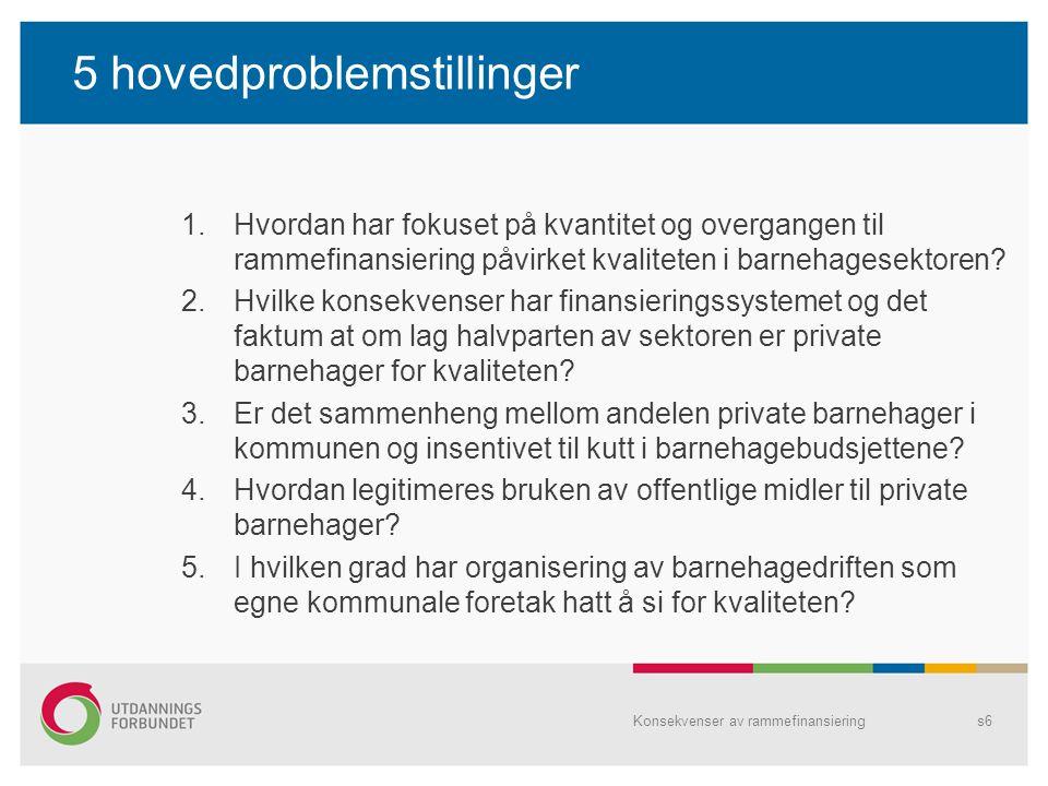 5 hovedproblemstillinger 1.Hvordan har fokuset på kvantitet og overgangen til rammefinansiering påvirket kvaliteten i barnehagesektoren? 2.Hvilke kons