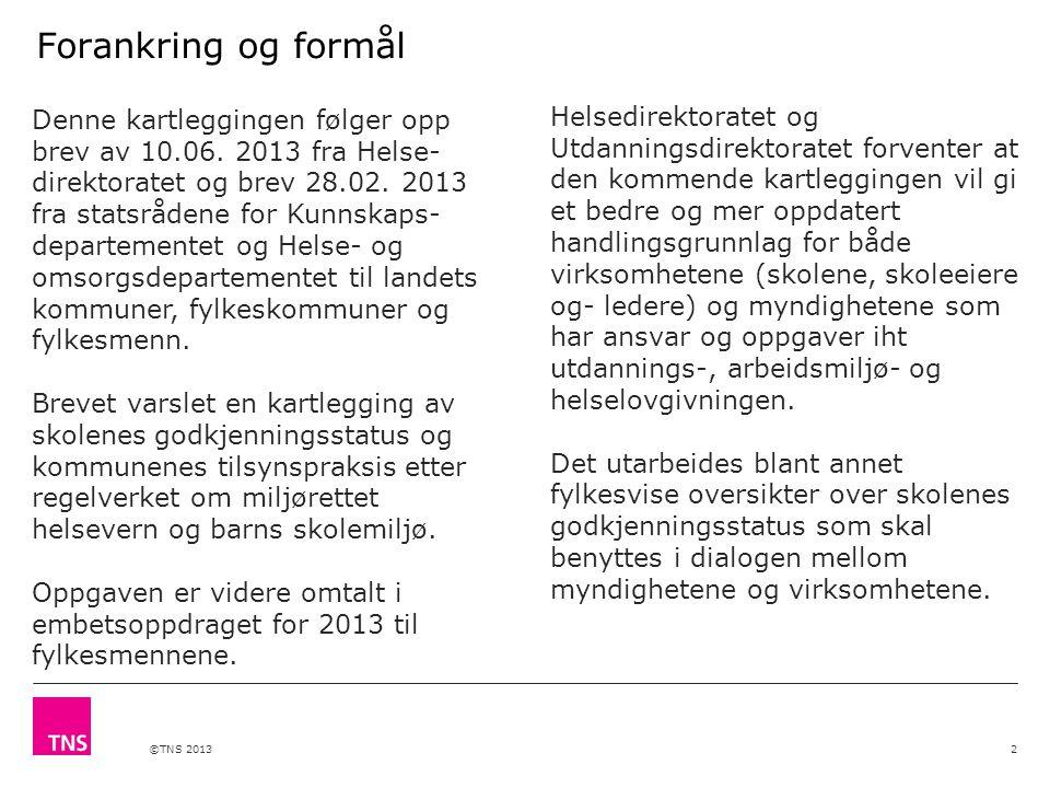 ©TNS 2013 Forankring og formål Denne kartleggingen følger opp brev av 10.06. 2013 fra Helse- direktoratet og brev 28.02. 2013 fra statsrådene for Kunn