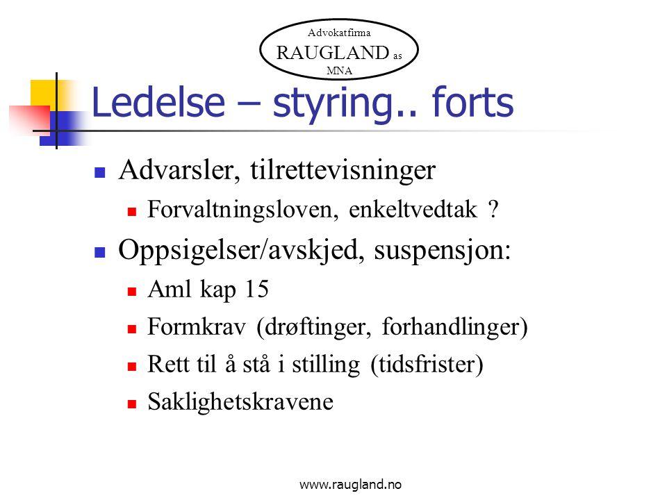 Advokatfirma RAUGLAND as MNA Ledelse – styring..