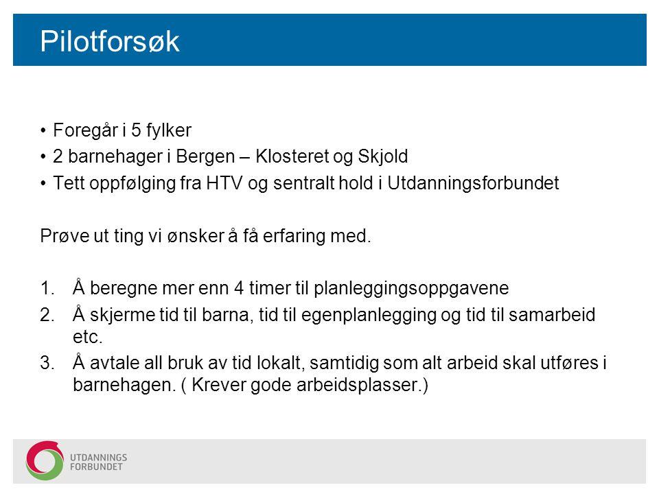 Pilotforsøk Foregår i 5 fylker 2 barnehager i Bergen – Klosteret og Skjold Tett oppfølging fra HTV og sentralt hold i Utdanningsforbundet Prøve ut tin