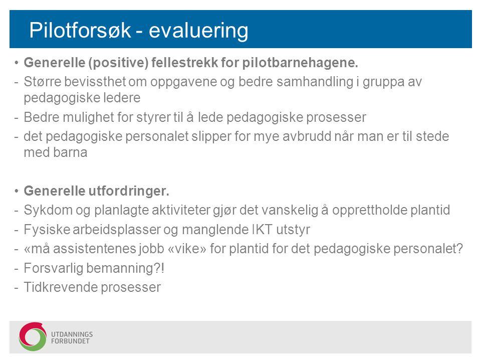 Pilotforsøk - evaluering Generelle (positive) fellestrekk for pilotbarnehagene. -Større bevissthet om oppgavene og bedre samhandling i gruppa av pedag