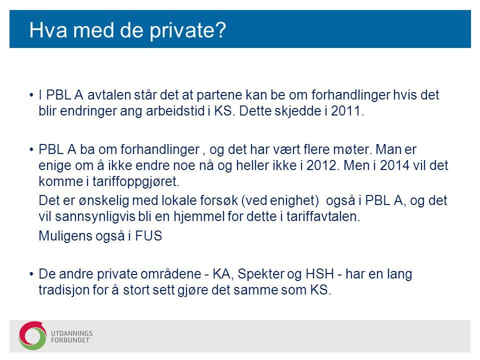 Hva med de private? I PBL A avtalen står det at partene kan be om forhandlinger hvis det blir endringer ang arbeidstid i KS. Dette skjedde i 2011. PBL
