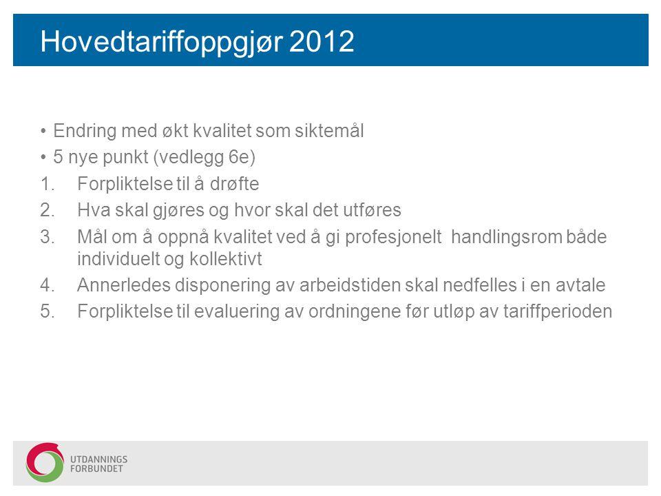 Hovedtariffoppgjør 2012 Endring med økt kvalitet som siktemål 5 nye punkt (vedlegg 6e) 1.Forpliktelse til å drøfte 2.Hva skal gjøres og hvor skal det