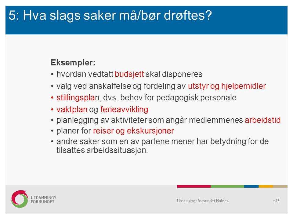 5: Hva slags saker må/bør drøftes? Eksempler: hvordan vedtatt budsjett skal disponeres valg ved anskaffelse og fordeling av utstyr og hjelpemidler sti
