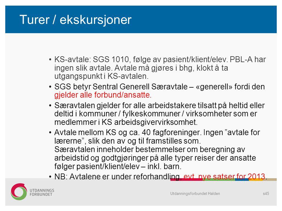 Turer / ekskursjoner KS-avtale: SGS 1010, følge av pasient/klient/elev. PBL-A har ingen slik avtale. Avtale må gjøres i bhg, klokt å ta utgangspunkt i