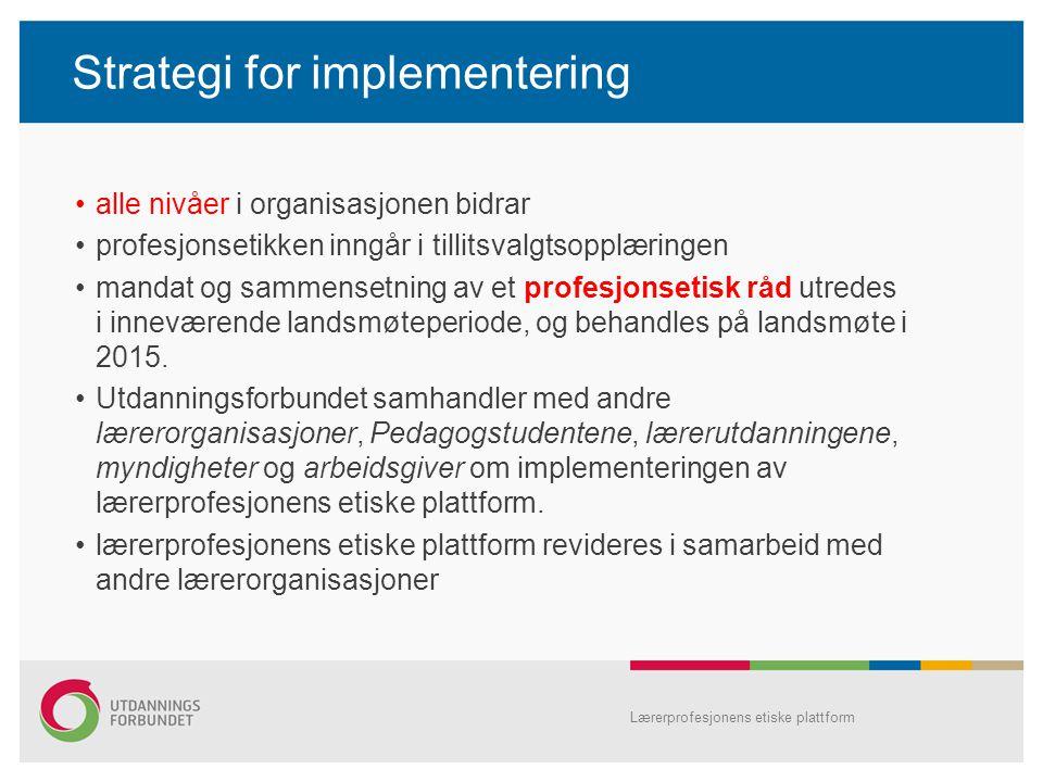 Strategi for implementering alle nivåer i organisasjonen bidrar profesjonsetikken inngår i tillitsvalgtsopplæringen mandat og sammensetning av et prof