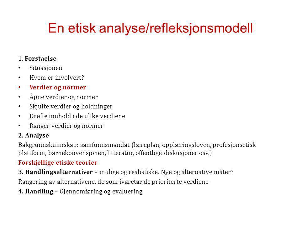 En etisk analyse/refleksjonsmodell 1.Forståelse Situasjonen Hvem er involvert.
